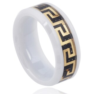 Vance Co. Men's Ceramic Greek Key Inlay Band (8mm)