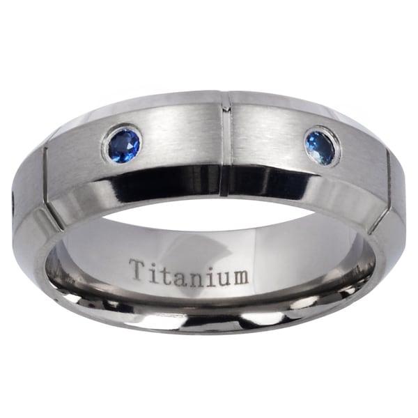 Mens Titanium Blue Sapphire Beveled Edge Wedding Band Free