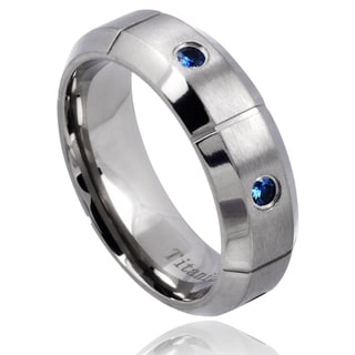 Men's Titanium Blue Sapphire Beveled Edge Wedding Band