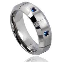 Men's Titanium Blue Sapphire Beveled Edge Wedding Band