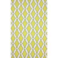 nuLOOM Flatweave Modern Trellis Lattice Yellow Wool Rug (7'6 x 9'6)