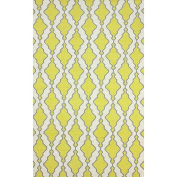 nuLOOM Flatweave Modern Trellis Lattice Yellow Wool Rug - 7'6 x 9'6
