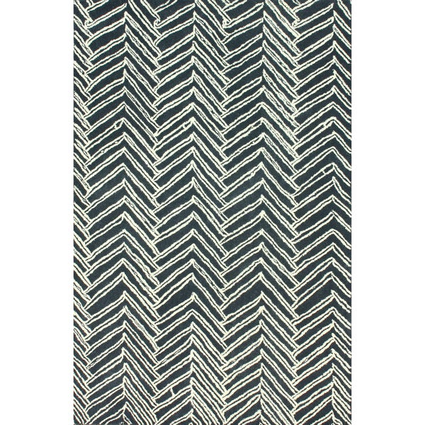 Tuscan Viga Chevron Denim Rug: NuLOOM Handmade Chevron Denim Wool Rug (6' X 9')
