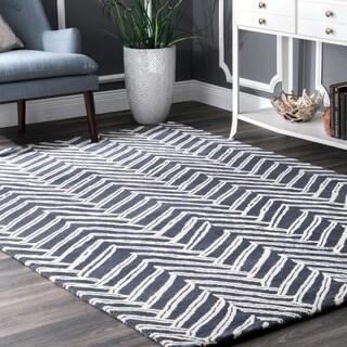 nuLOOM Handmade Chevron Denim Wool Rug (6' x 9')