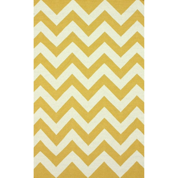 Chevron Denim Wool Rug: Shop NuLOOM Handmade Flatweave Chevron Gold Wool Rug