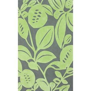 nuLOOM Handmade Bold Floral Green Rug (7'6 x 9'6)