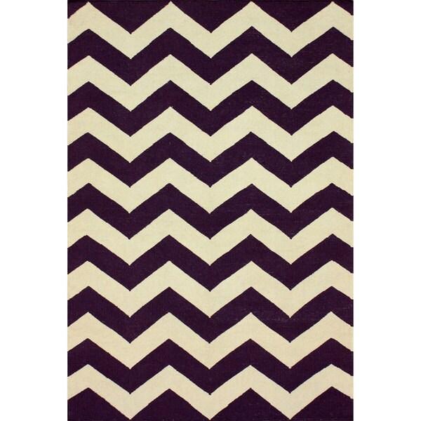 nuLOOM Handmade Flatweave Chevron Purple Wool Rug - 7'6 x 9'6
