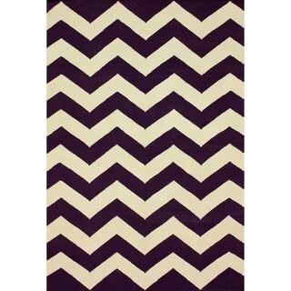 nuLOOM Handmade Flatweave Chevron Purple Wool Rug (7'6 x 9'6)