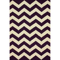 "nuLOOM Handmade Flatweave Chevron Purple Wool Rug (7'6 x 9'6) - 7'6"" x 9'6"""