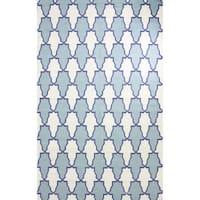 nuLOOM Flatweave Modern Trellis Light Blue Wool Rug - 5' x 8'