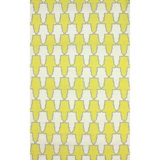 nuLOOM Flatweave Modern Trellis Yellow Wool Rug (5' x 8')
