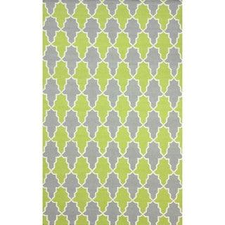 nuLOOM Flatweave Modern Trellis Green Wool Rug (5' x 8')