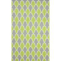 nuLOOM Flatweave Modern Trellis Green Wool Rug (5' x 8') - 5' x 8'