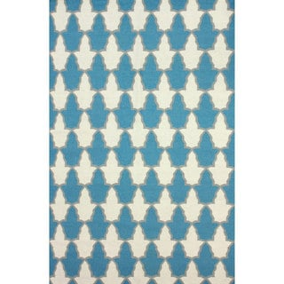 nuLOOM Flatweave Modern Trellis Teal Wool Rug (5' x 8')