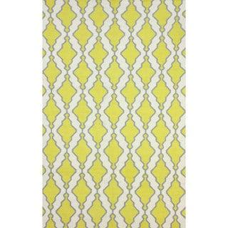 nuLOOM Flatweave Modern Trellis Lattice Yellow Wool Rug (5' x 8')