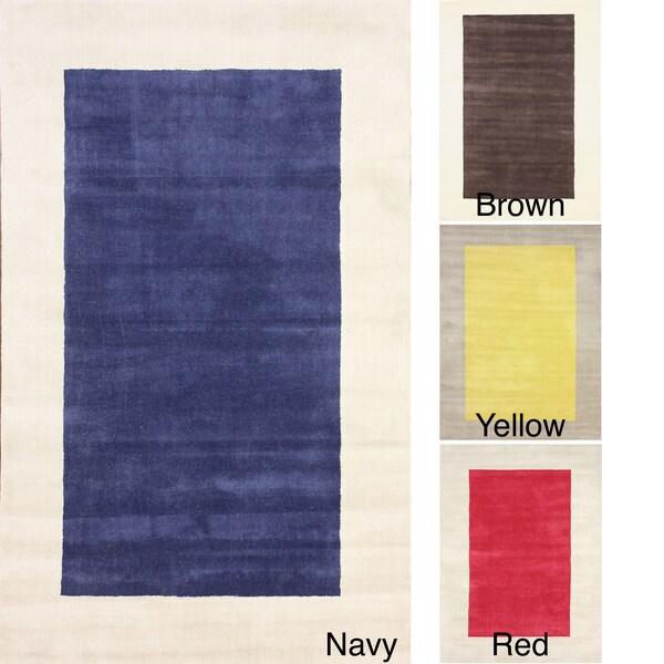 nuLOOM Handmade Two Tone Solid Border Wool Rug (5' x 8') - 5' x 8'
