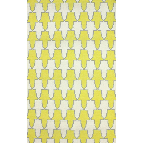 nuLOOM Flatweave Modern Trellis Yellow Wool Rug - 7'6 x 9'6