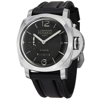Panerai Men's 'Luminor 1950' Black Dial 8 Days GMT Black Strap Watch