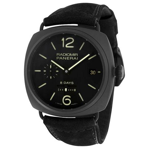Panerai Men's 'Radiomir 8 Days Ceramica' Black Dial Black Strap Watch