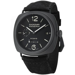 Panerai Men's 'Radiomir 8 Days Ceramica' Black Dial Black Strap Watch