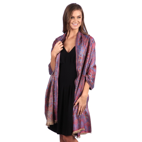 Selection Privee Paris Blue/ Red Paisley Wool and Silk Shawl Wrap