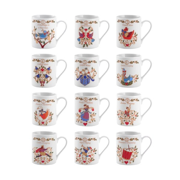 Mikasa '12 Days Of Christmas' Assorted 10-ounce Porcelain Mugs (Set of 12)