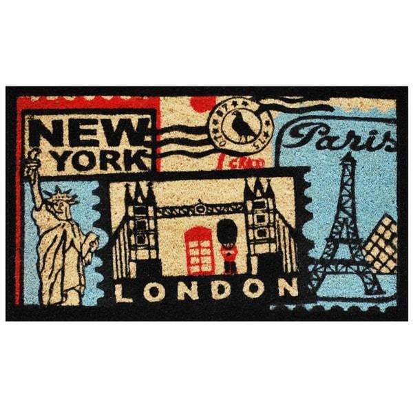 Bon Voyage Black Coir Doormat (1'5 x 2'5)