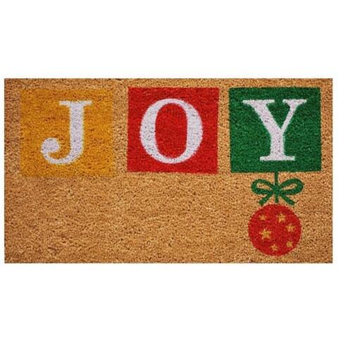 Joy Natural Coir with Vinyl Back Doormat (1'5 x 2'5)