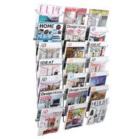 Alba 21-compartment Chrome Wall Literature Display