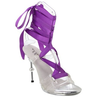 Ellie Women's '458-Ballerina' Clear Pumps with Interchangable Ribbons