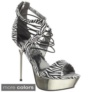 Ellie Women's '567-Africa' String Straps Chrome Heels