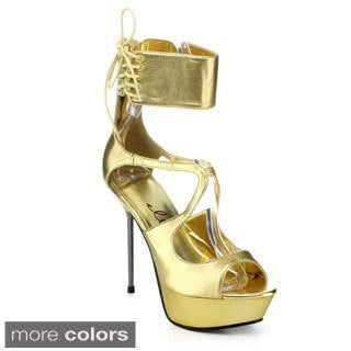 Ellie Women's '567-Petra' Metallic Ankle Cuff Chrome Heel Sandals
