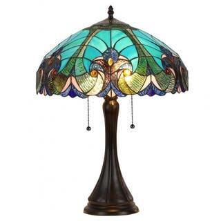 Tiffany style lighting for less overstock blue stained glass tiffany style victorian 2 light table lamp mozeypictures Image collections