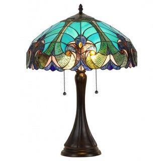 blue stained glass victorian 2light table lamp