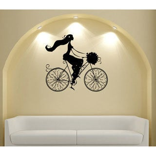 Paris on a Bicycle Vinyl Wall Decal