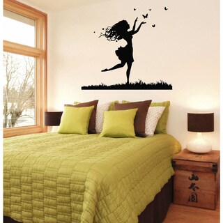 Girl with Butterflies Vinyl Wall Decal