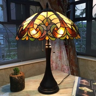 Tiffany-style Victorian Antique-bronze 2-light Table Lamp