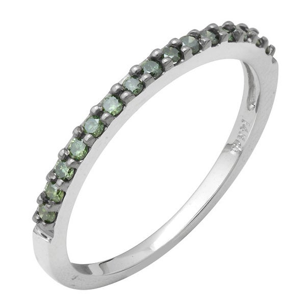 10k White Gold 1/4ct TDW Green Diamond Stackable Band