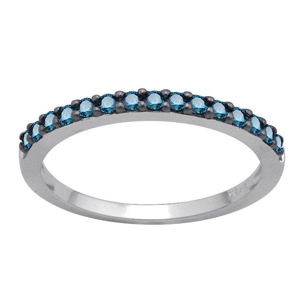 10k White Gold 1/4ct TDW Blue Diamond Band