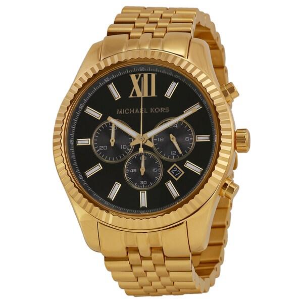 68fdfef3c502a5 Michael Kors Men's MK8286 Lexington Chronograph Black Dial GoldTone  Watch