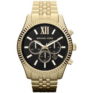 Michael Kors Men's MK8286 Lexington Chronograph Black Dial GoldTone Watch