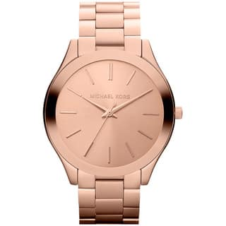 Michael Kors Women's MK3197 'Slim Runway' Rose Goldtone Watch|https://ak1.ostkcdn.com/images/products/8561378/P15837830.jpg?impolicy=medium