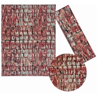 Tilted Squares Collection Red Rug 3pc Set by Nourison (2'2 x 7'3) (5'3 x 5'3 Round) (7'10 x 10'6)