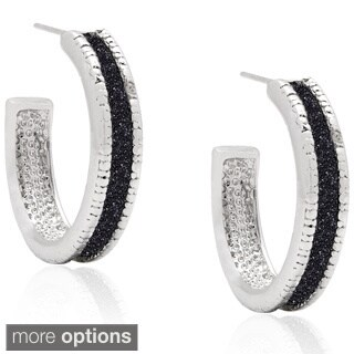 Finesque Silverplated Diamond Accent Texture Hoop Earrings