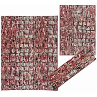 Tilted Squares Collection Red Rug 3pc Set by Nourison (2'2 x 7'3) (5'3 x 7'3) (7'10 x 10'6)