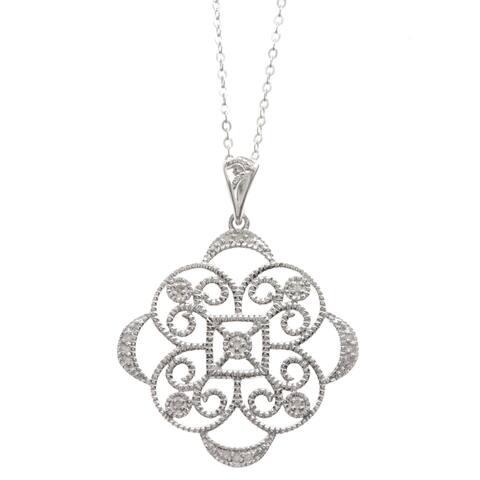La Preciosa Sterling Silver Medallion Diamond Necklace