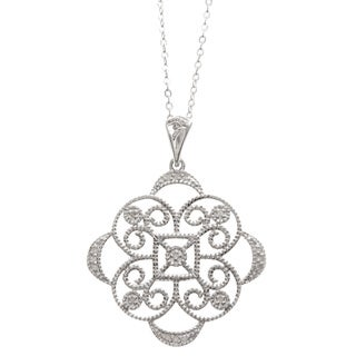 La Preciosa Sterling Silver Medallion Diamond Necklace