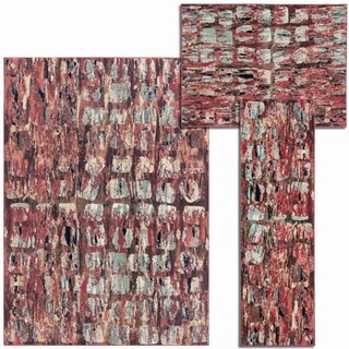 Tilted Squares Collection Red Rug 3pc Set by Nourison (2'2 x 7'3) (3'11 x 5'3) (5'3 x 7'3)