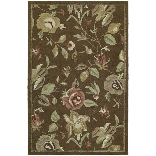 Hand-tufted Lawrence Brown Floral Wool Rug - 5' x 7'9