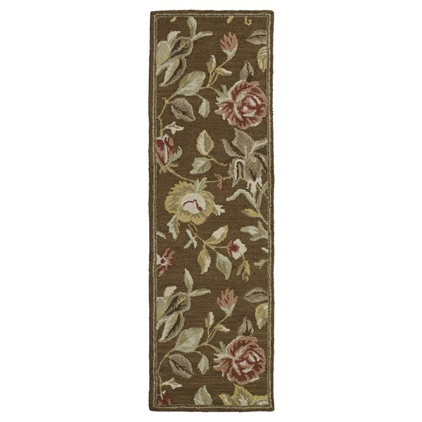 Hand-tufted Lawrence Brown Floral Wool Rug (2'3 x 7'6) - 2'3 x 7'6